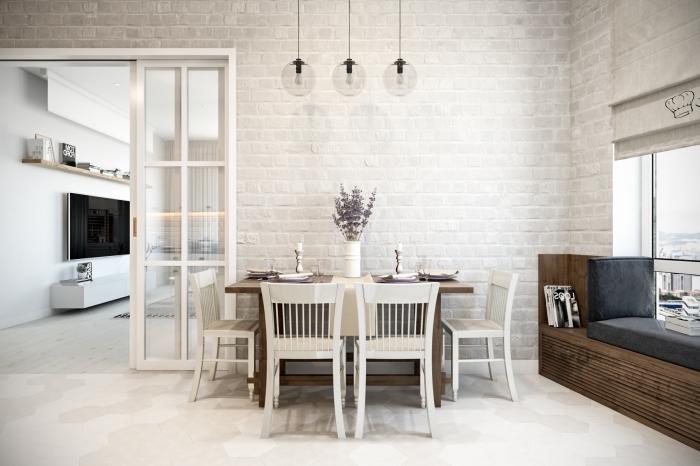 meuble scandinave, revêtement des murs en briques blanches, banc en bois marron foncé sous la fenetre