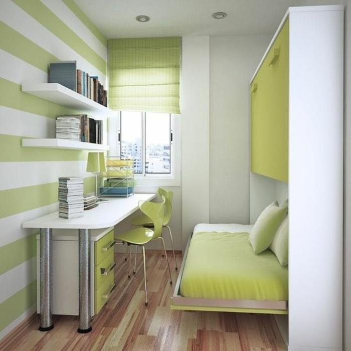aménager une chambre de 10m2 en réséda et blanc, mur décoré avec des rayures horizontales blanches et réséda, bureau au plan de travail blanc avec des pieds métalliques en couleur argent