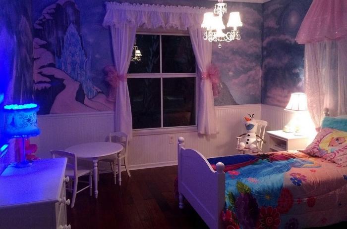 housse de couette la reine des neiges, chambre d'enfant aux murs décorés de papier peint à design Frozen