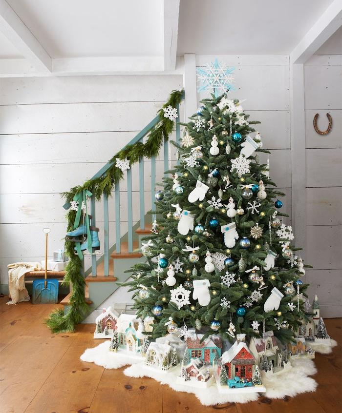 Sapin De Noel Blanc Et Bleu Deco Noel Bleu Blanc Argent Decoration