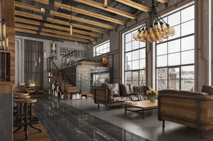 table basse industrielle, déco loft en bois et gris, tabourets de bar avec siège en bois et pieds en fer