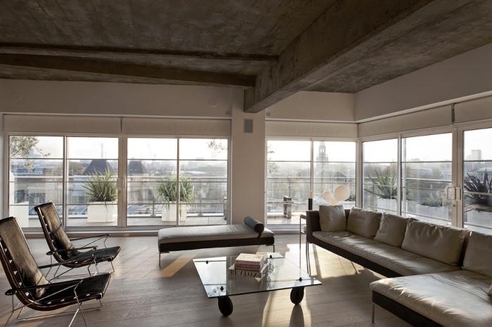 idee deco salon, chambre industriel au plafond en béton et murs peints en blancs, petite table basse en verre avec canapé en cuir