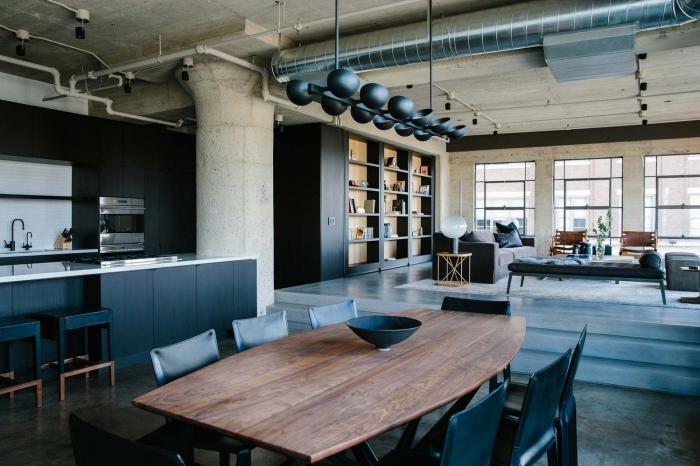 meuble industriel, déco salon en style loft industriel avec murs et plafond en gris, meubles de cuisine et salon en noir