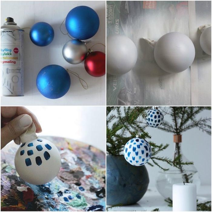 activite manuelle noel, boules de noel, repeintes en blanc avec decoration de touches de peinture bleue pour decorer des branches de pin