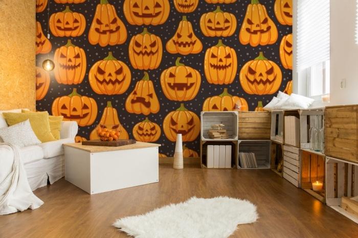 accessoires décoratifs pour chambre Halloween, pièce au parquet stratifié et tapis blanc faux fur avec stickers halloween