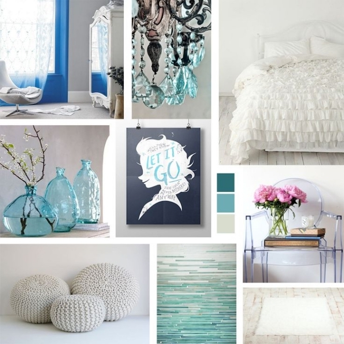 deco chambre fille, petite chaise transparente avec livres et fleurs, palettes de couleurs pour chambre reine des neiges