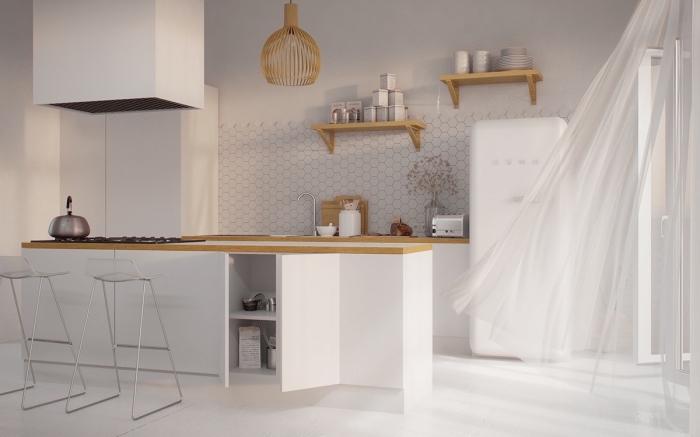 amenagement cuisine, design de cuisine en blanc et bois avec ilot central et chaises de bar métalliques