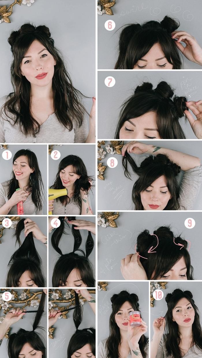 une coiffure cheveux longs et mi-longs de style original avec une couronne de chignons macarons