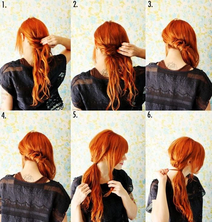 une coiffure queue de cheval basse portée de côté sur cheveux longs ondulés couleur roux flamboyant