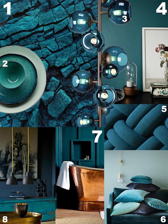 accessoire décoratif pour introduire le bleu petrole par petites touches, coussins bleus effet ombré, mur bleu canard, luminaire, meuble couleur bleue