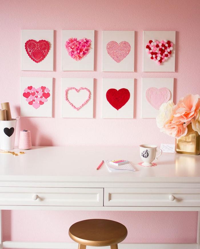 carreaux blancs, décorés de coeurs en papier, fleurs, dentelle et laine, diy chambre ado decoration facile