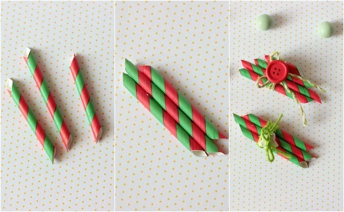 activite de noel, ornement en paille de papier rouge et vert avec une decoration de bouton et ficelle verte