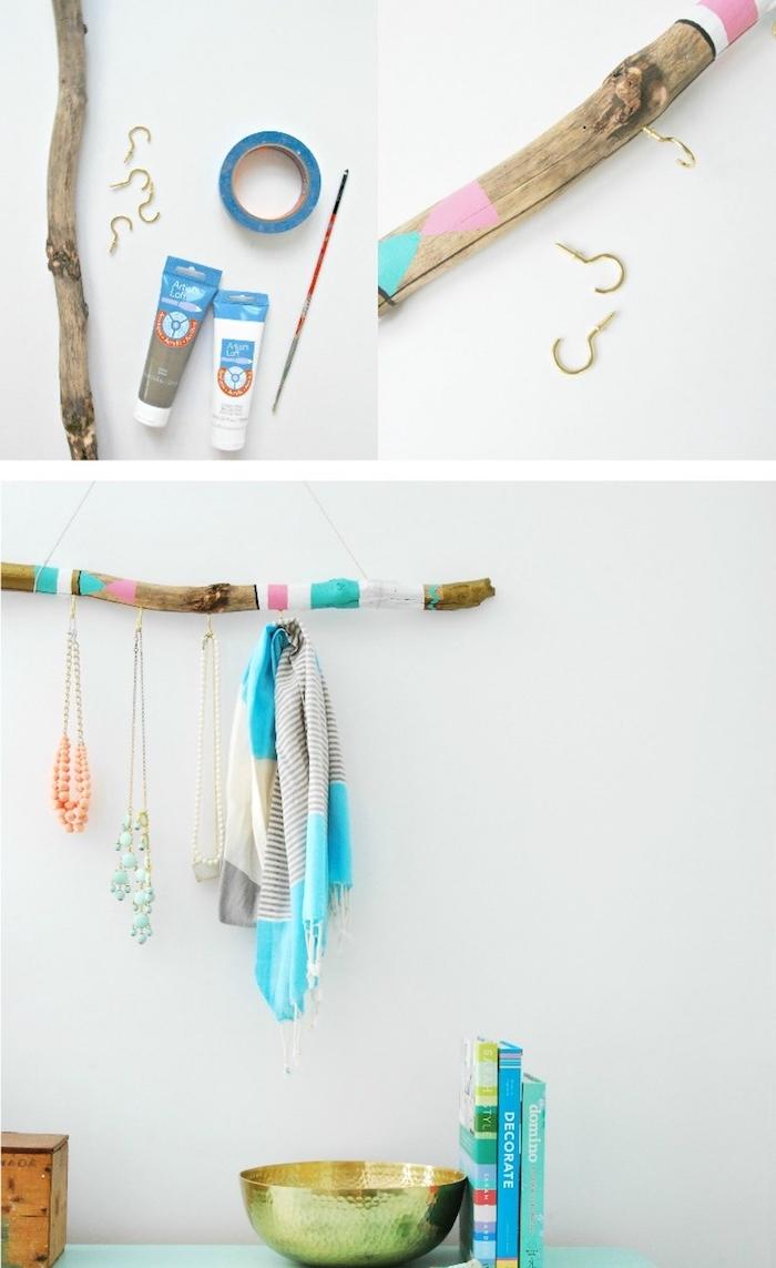 diy rangement a fabriquer soi meme, bois flotté tuto, branches de bois décoré à motifs colorés avec des accroches pour suspendre accessoires, collier écharpe