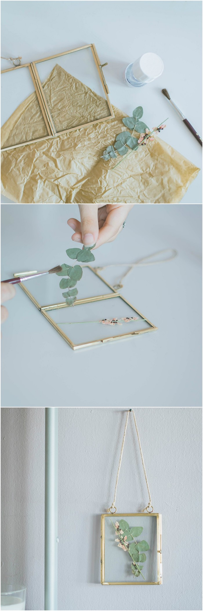 diy déco chambre, fleurs séchées pressées dans un cadre photo vintage à suspendre, activité manuelle pour ado