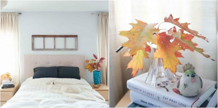 diy déco chambre sur l automne, vase rempli de feuilles mortes, echelle decorative en guise de tete de lit