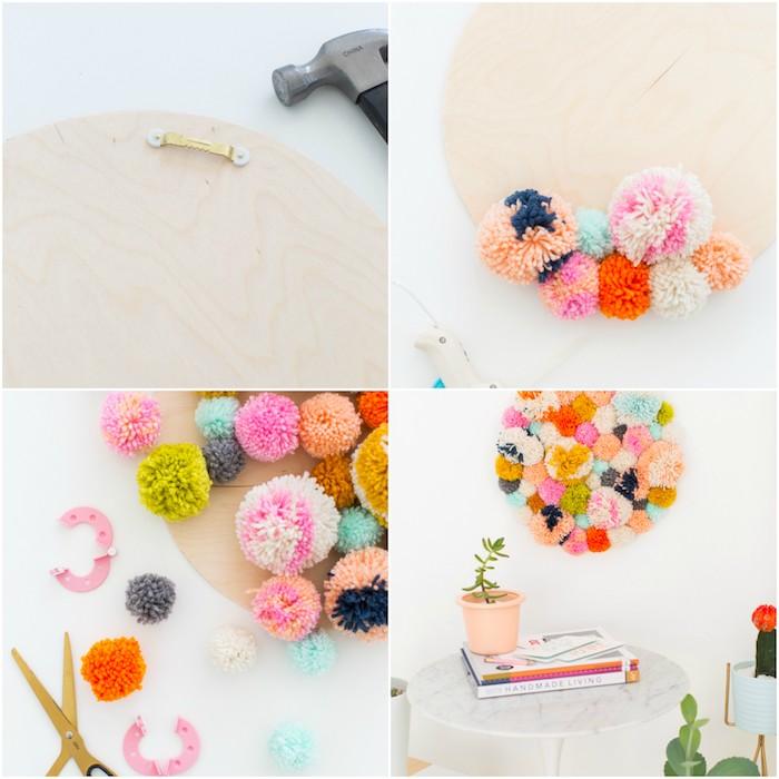 idée de diy déco chambre pompons colorés collés sur un support en bois, planche a decouper, decoration murale bricolage simple