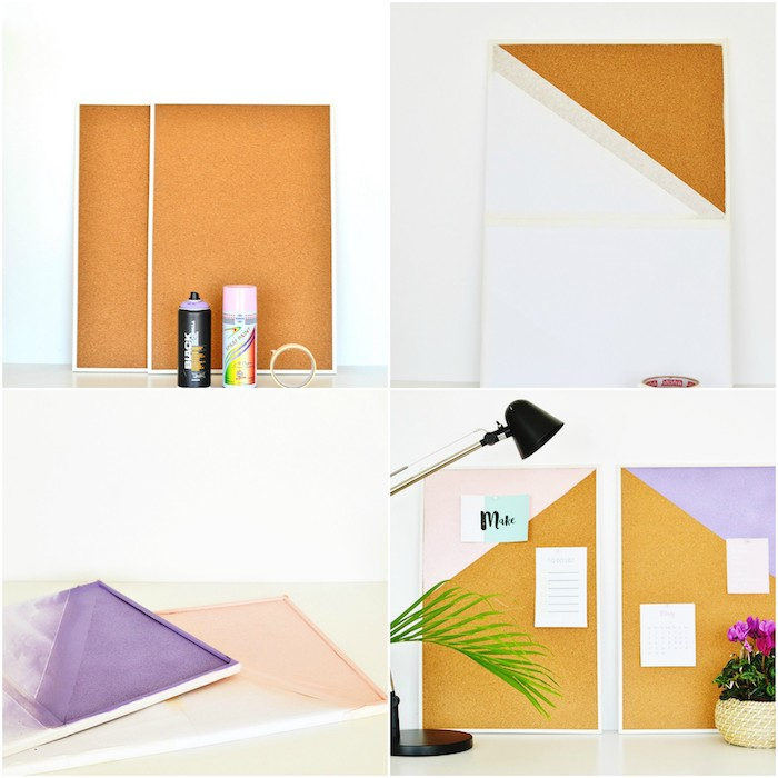 diy deco bureau, activité manuelle pour ado, planche de liege repeinte, panneau d affichage simple, fleurs, idée déco chambre a coucher