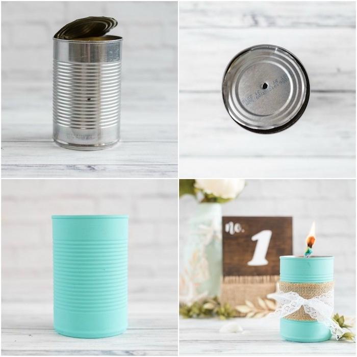 exemple de diy mariage a faire soi meme, recyclage boite de conserve, repeinte en bleu avec decoration de jute et dentelle blanche, bougeoir élégant