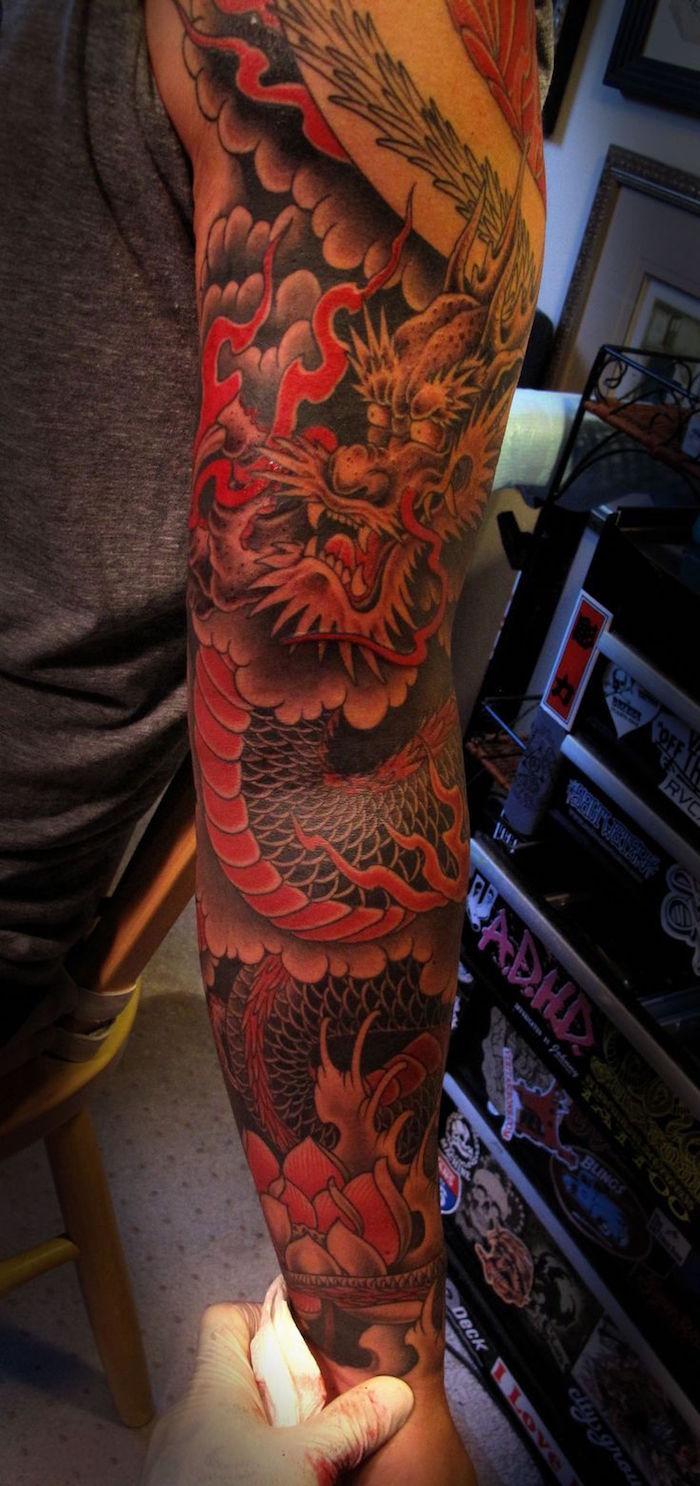 dessin dragon japonais tattoo manchette homme