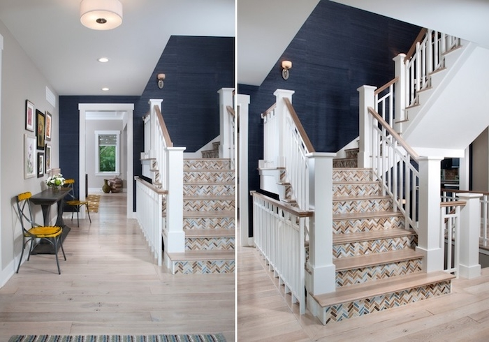renocvation escalier en vois avec des contremarches habillées de stickers autocollants colorés, effet geometrique, rampe escalier blanche et bois, mur montée couleur gris anthracite
