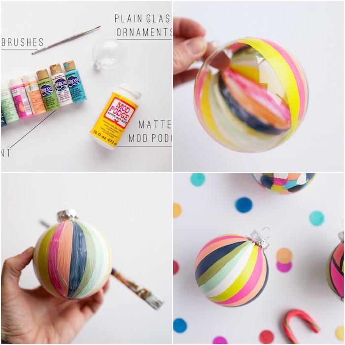 bricolage de noel facile, boule de noel en plastique, décorée de bandes de peinture, idée d activite de noel