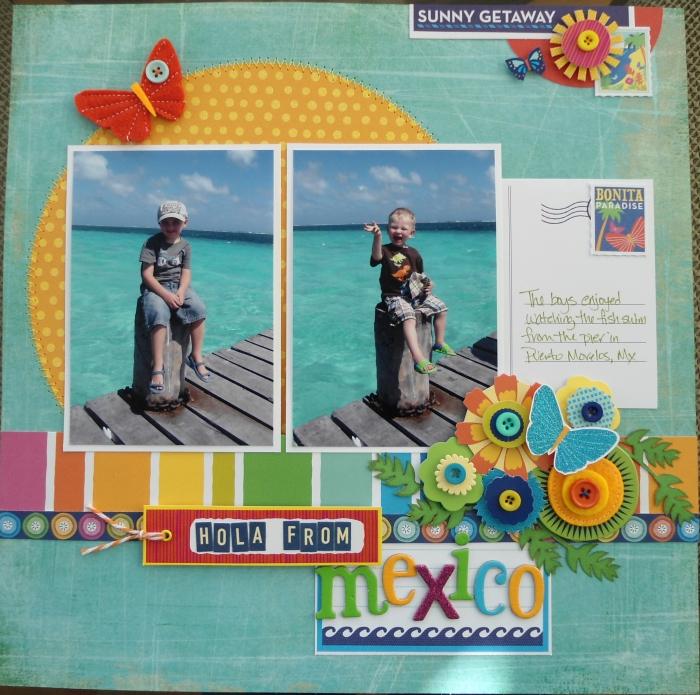 idée cadeau, carte postale personnalisée en papier vert avec papillons et fleurs en tissu et papier multicolore