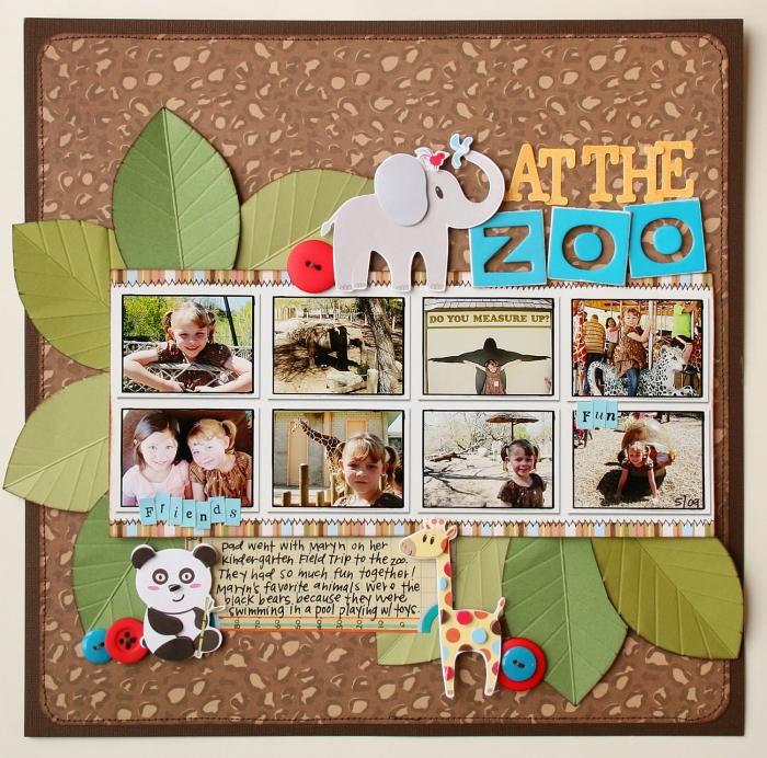 décoration à faire avec ses photos personnelles, poster zoo avec photos enfant et feuilles vertes