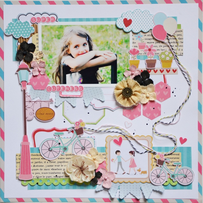 art du papier, surprise enfant faite maison avec photos et papier, feuille blanche avec stickers autocollants en rose bleu et blanc