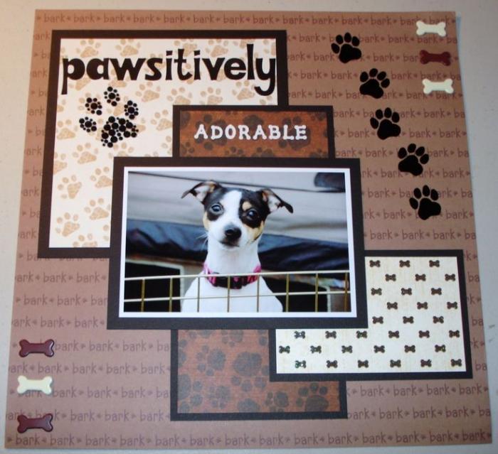 matériel scrapbooking, comment fabriquer une page personnalisée avec photo animal de compagnie et stickers