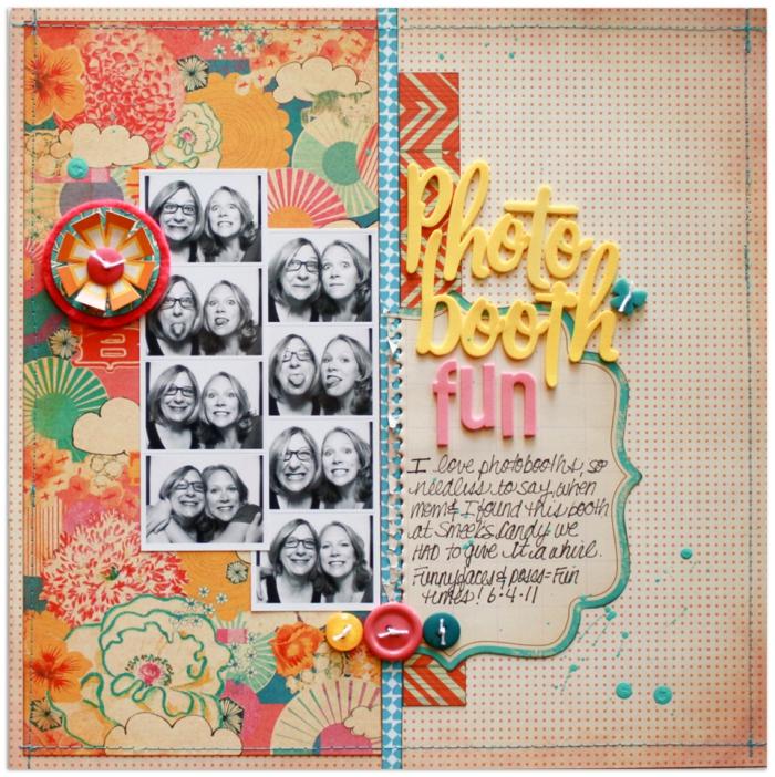 idée scrapbooking pour meilleurs amis, carte postale personnalisée à design orange et motifs floraux