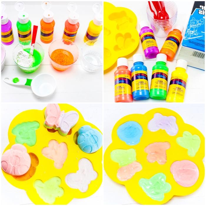 les étapes de fabrication des craies colorées en formes variées à l'aide des moules en silicone, une activité manuelle maternelle idéale pour les vacanes