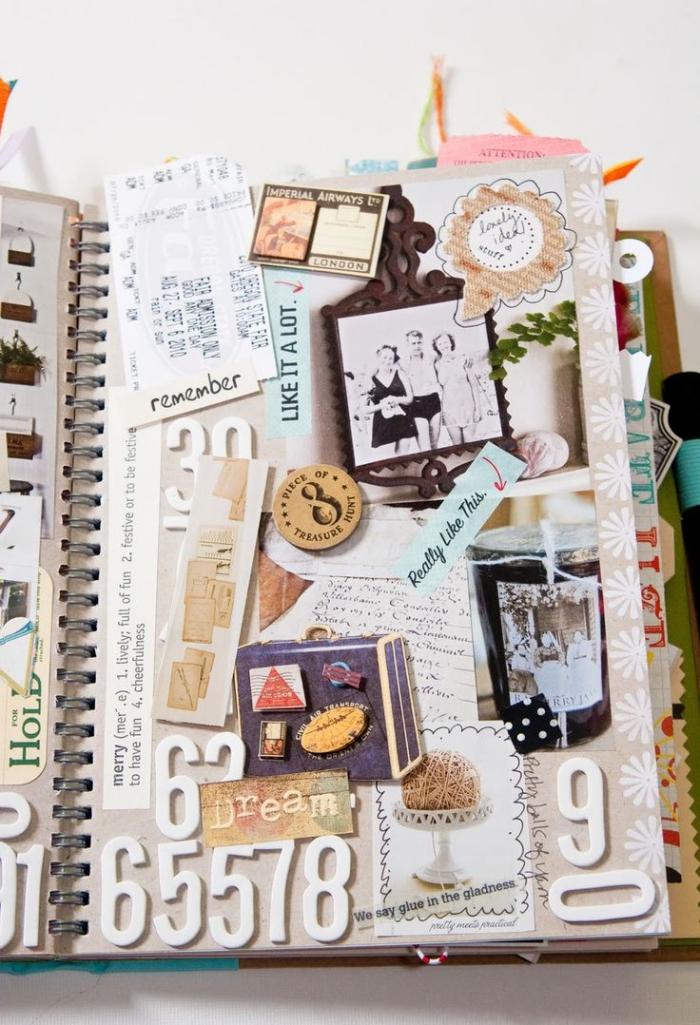 créer un album photo, modèle de page d'album personnalisé avec photos et stickers à thème voyage