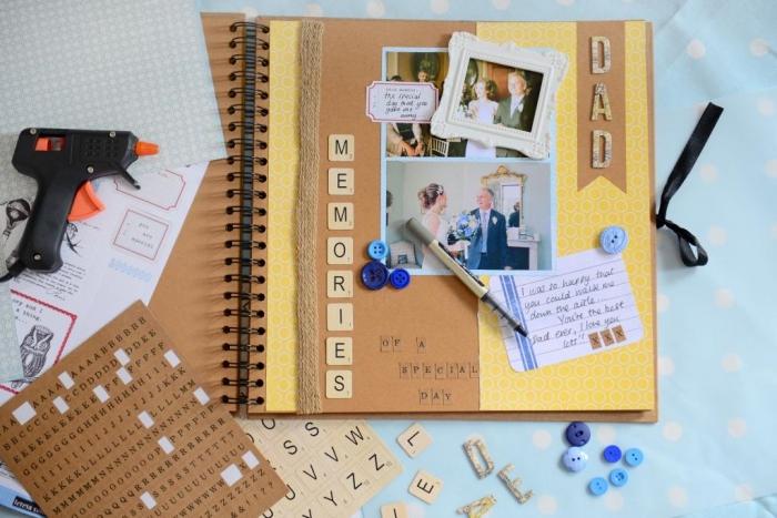 activité manuelle pour faire un album de mariage personnalisé, matériaux à utiliser pour un scrapbooking mariage