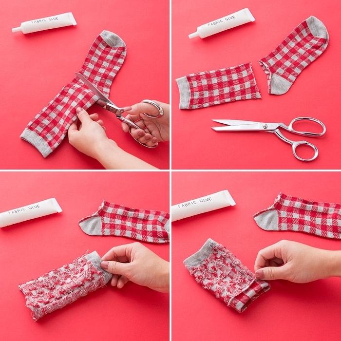 idée originale d une actiivité manuelle pour l automne, manchon de tasse à café diy réalisé à partir d une chaussette