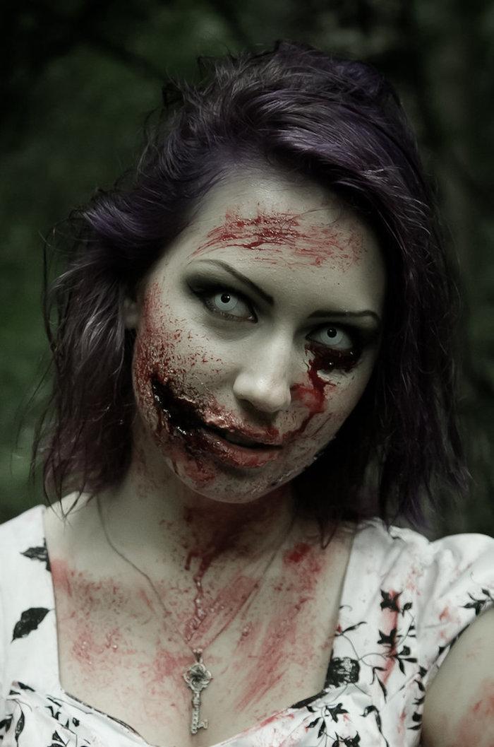 maquillage zombie femme deguisement horreur halloween