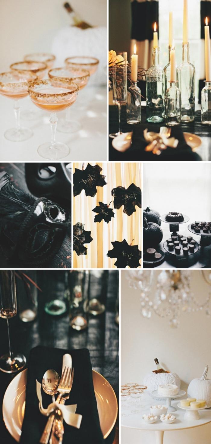 activité halloween, décoration en noir et or, comment arranger la table Halloween avec verres champagnes et bougies Halloween