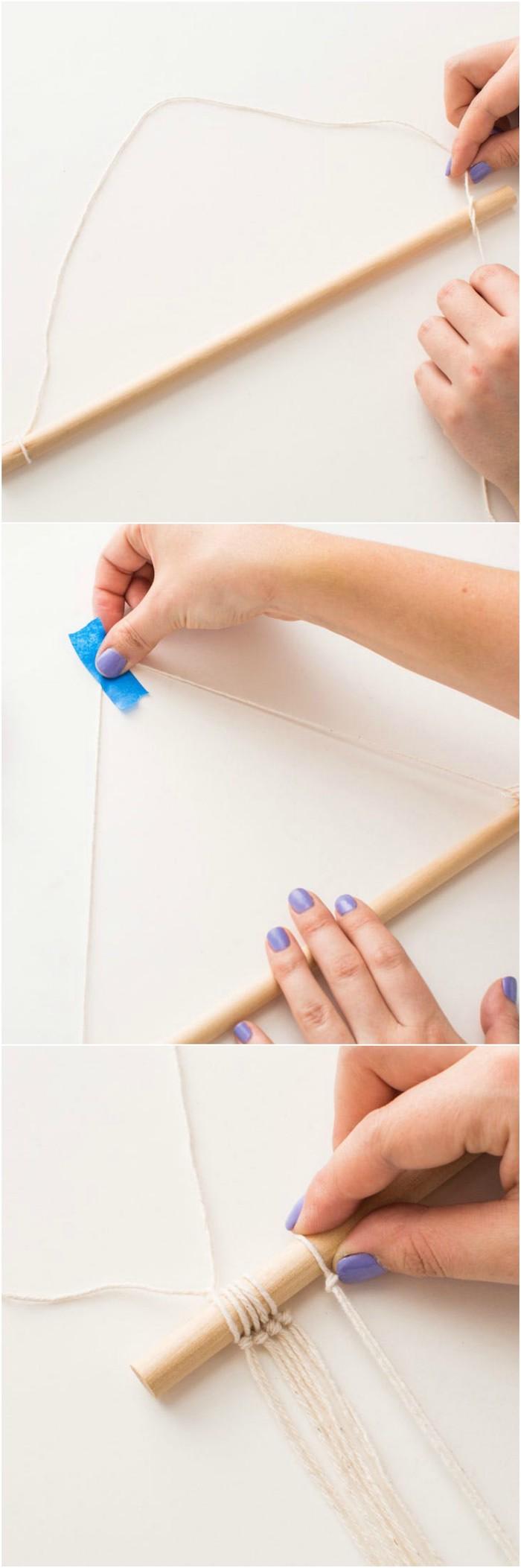 idée comment faire un macramé tuto, des chutes de ficelles nouées sur une baguettes en bois, diy déco chambre