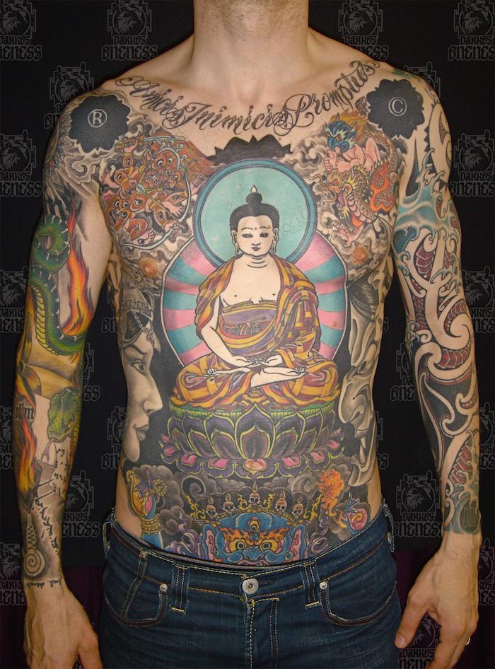 grand tatouage symboles bouddhistes japonais