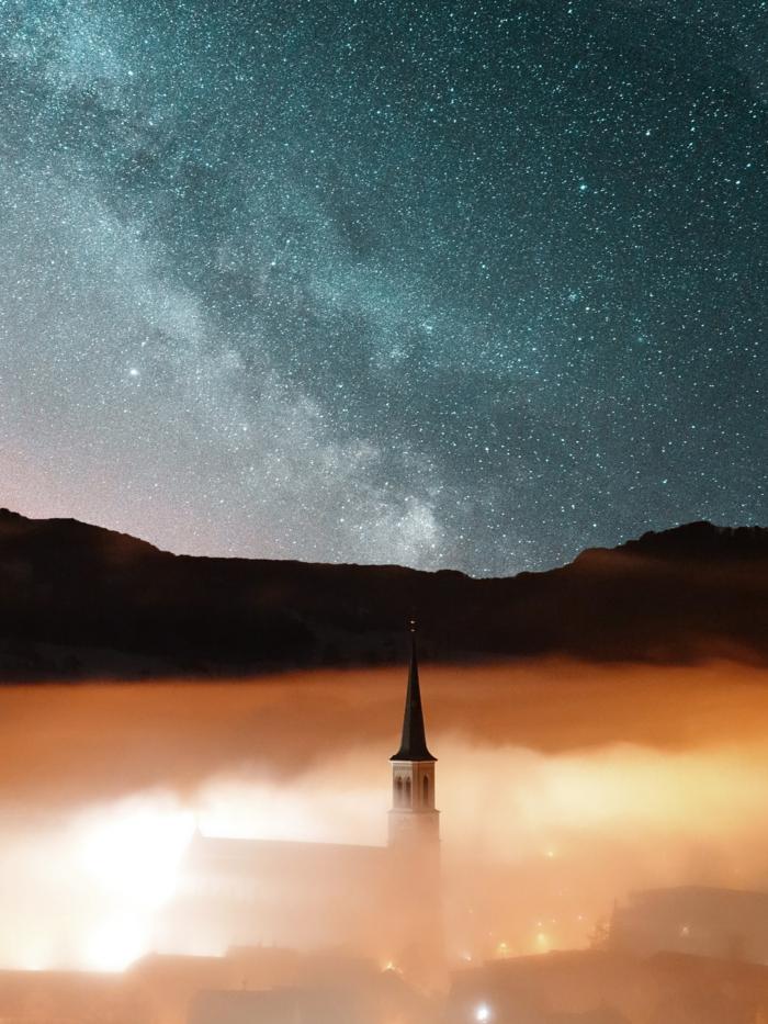 Superbe fond écran iphone fond d écran blanc iphone idée nuit image église le ciel étoilé adorable photo