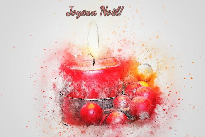 fond d écran noel gratuit, peinture bougie et boules de noel à l aquarelle, message joyeux noel