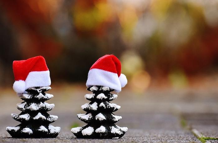 fond d ecran noel avec deux figurines de sapins de noel enneigées avec chapeau pere noel rouge et blanc
