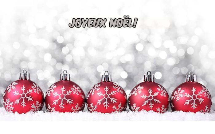 carte joyeux noel en boules de noel rouges avec motif flacon de neige gris sur un - Decoration De Noel Blanche