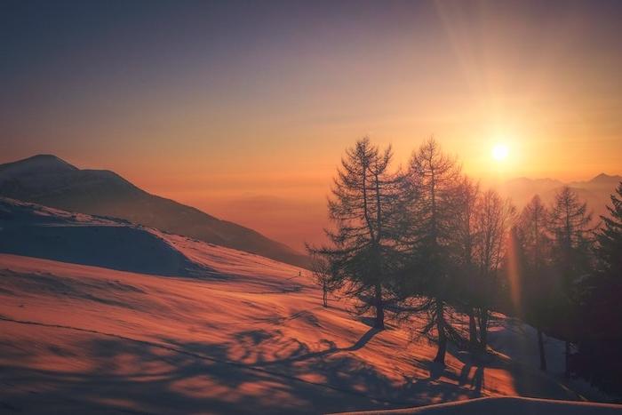 paysage hiver fond ecran, montagne enneigé, ensevelie sous la neige, arbres, paysage au lever du soleil