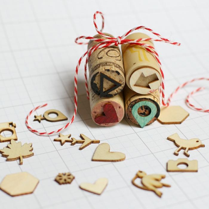 Idée à faire soi meme un sceau liège cachet differents formes de bouchon de liège recycle