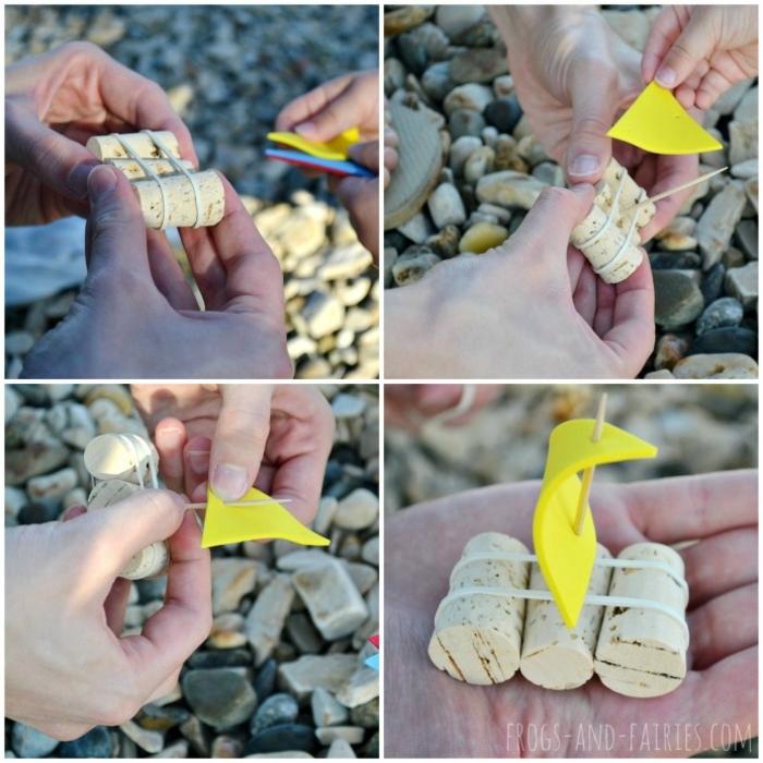 Activité manuelle avec bouchon liege idée déco chambre petit bateau pour ceux qui aiment nager dans l eau