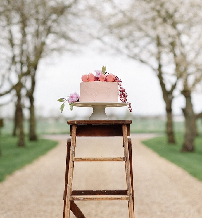 echelle bois decorative avec un gateau mariage dessus, idée de support pour gâteau rustique, mariage champetre
