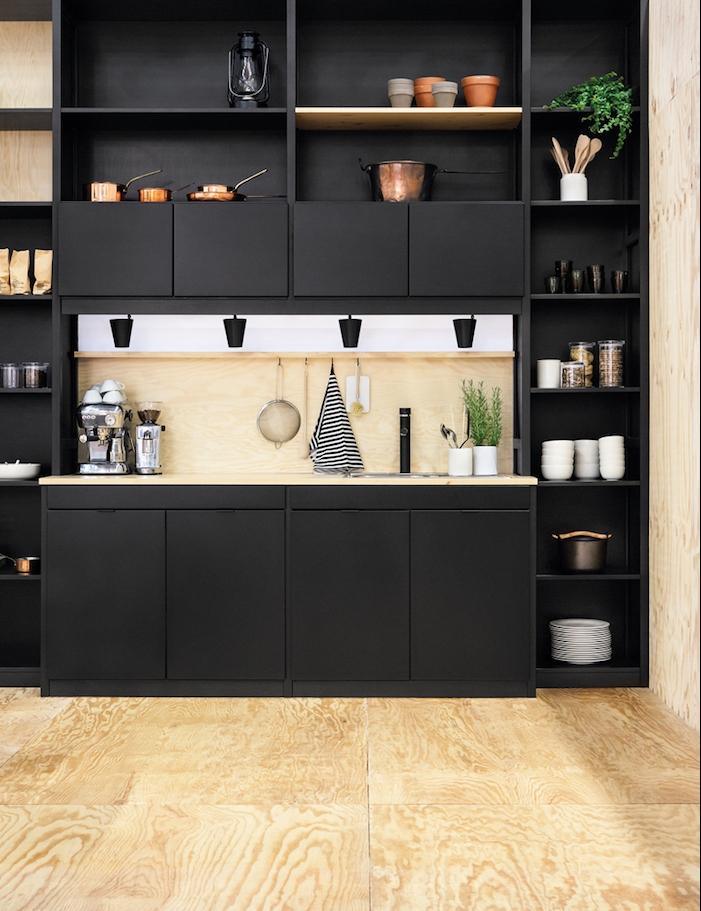 rangement de cuisine etagère commode noir mat