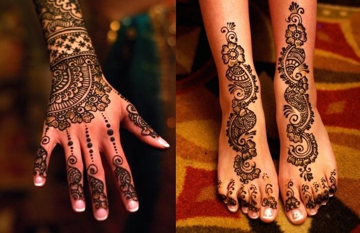 henné tatouage, dessin au henné noir sur les mains et les pieds, modèle de tatouage temporaire pour femme