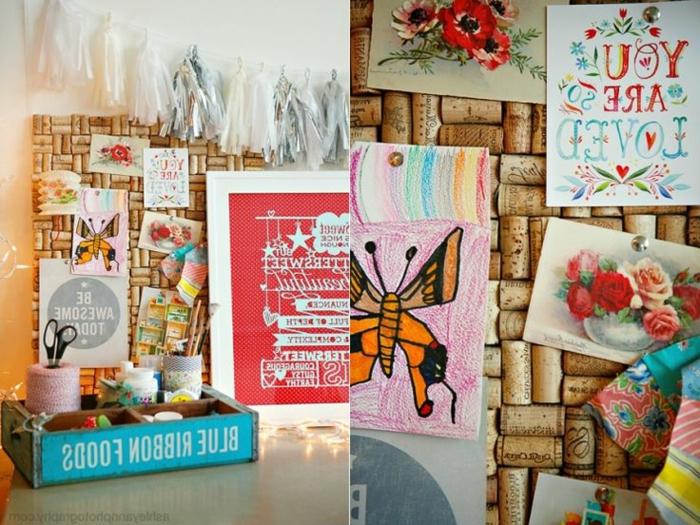 Formidable décoration bricolage avec bouchon de liège tableau de bouchons de liège a faire soi meme décoré avec memoires cartes de voeux joliment dessinez