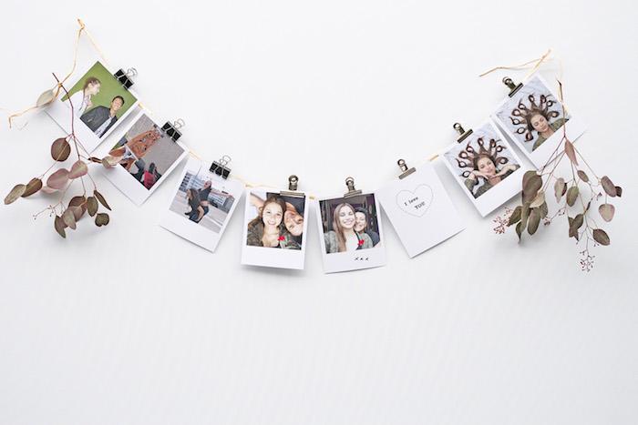 exemple activité manuelle adulte, diy déco chambre de photos instagram suspendues à un fil, décoration de brindilles avec des feuilles d arbre